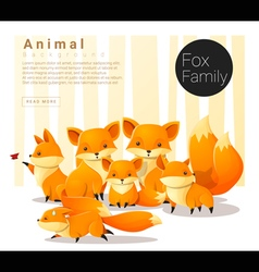 Cute animal family background with foxes vector