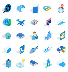 Adventure films icons set isometric style vector