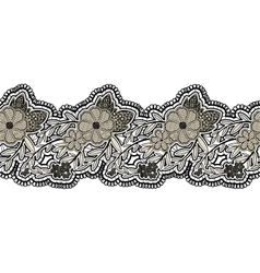 Black seamless lace ribbon isolated on white vector image vector image