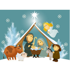 Cartoon nativity scene with holy family vector