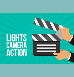 Cinema lights camera action flat vector