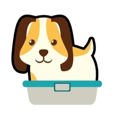 Cute puppy little pet domestic bathtub vector