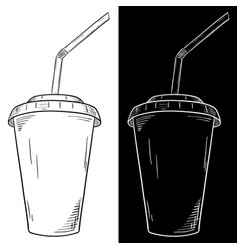 Drink in disposable paper cup with straw hand vector