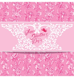 flowers pink card 2 380 vector image