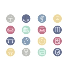 Home furniture flat icons vector image