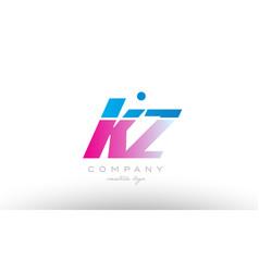 kz k z alphabet letter combination pink blue bold vector image