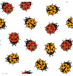 ladybug seamless pattern vector image vector image