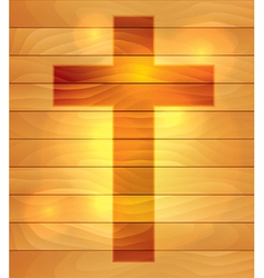 Lighted Holy Cross over Wooden Board Background vector image