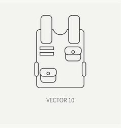 Line flat military icon bulletproof vest vector