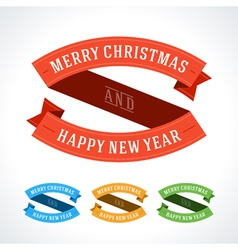 Merry christmas message ribbons decoration set vector