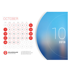 October 2018 desk calendar for 2018 year vector
