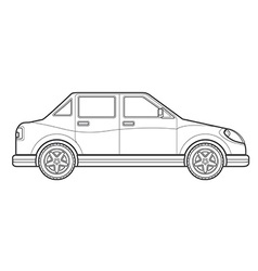 Outline saloon car body style icon vector