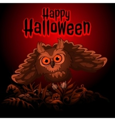 Owl on a red background with text happy halloween vector