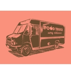 Painted food truck on a pink background vector image