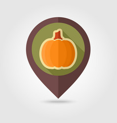 Pumpkin flat pin map icon vegetable vector