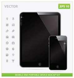 Realistic tablet with blank screen and phone vector image