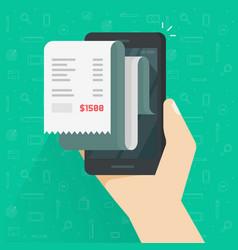 receipt bill on smartphone vector image vector image