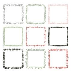 Set of 9 decorative square border frames vector