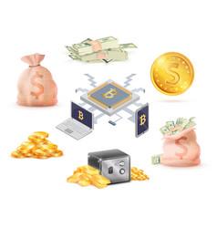 set of green money golden online cash bank cell vector image vector image