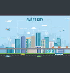 smart city urban landscape with infographic vector image
