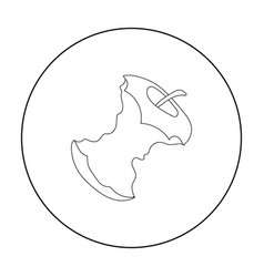 Stub of apple icon in outline style isolated on vector