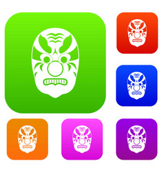 Tribal mask set collection vector