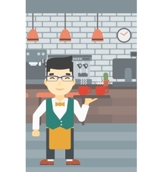 Waiter holding tray with cups of coffeee or tea vector