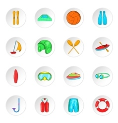 Water sport icons cartoon style vector