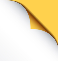 white bended paper with yellow background vector image vector image