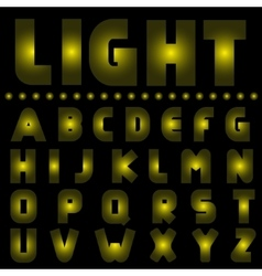 Yellow light alphabet vector image vector image