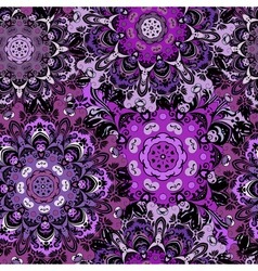 Violet seamless pattern with eastern mandalas vector