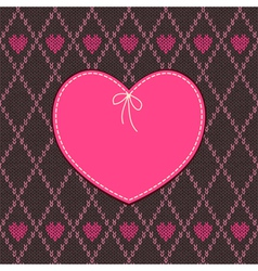 Vintage Heart Shape Design with Knitted Pattern vector image