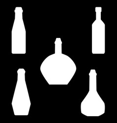 Set of different silhouettes bottles isolated on vector
