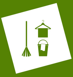 Broom bucket and hanger sign white icon vector