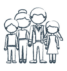 Blurred blue contour faceless family group in vector