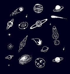 Collection of space cosmic object vector