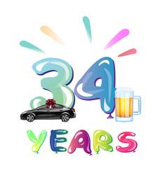 34th happy anniversary celebration birthday vector