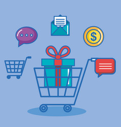 Shopping online buy sms chat pay digital internet vector