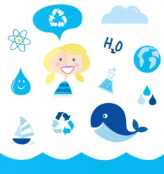 Recycle water icons vector