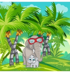 Child of the jungle with a family of elephants vector