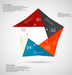 Pentagon origami infographic light vector