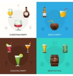 Drinks polygonal set vector