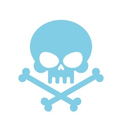 Cute skull with bones honey kind blue head vector