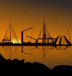 Silhouette of a harbor vector