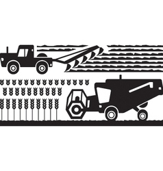 Agricultural machinery in farm vector