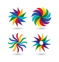 Abstract geometric circle colorful logo icon set vector