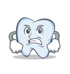 Angry face tooth character cartoon style vector