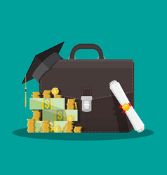 business briefcase graduation cap money diploma vector image