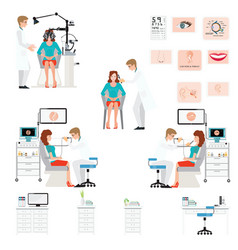 doctor examining patient with endoscope and vector image vector image