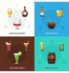 Drinks polygonal set vector